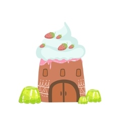 Tower made of candy whipped cream and jelly vector