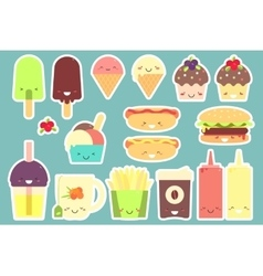 Fast food sticker set vector