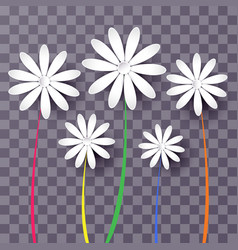 set of abstract paper flowers 3d vector image