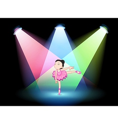 A stage with a cute ballerina in the middle vector image