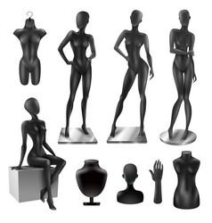 Mannequins women realistic black image set vector