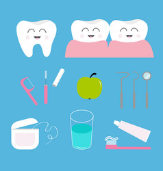 Tooth health icon set toothpaste toothbrush vector