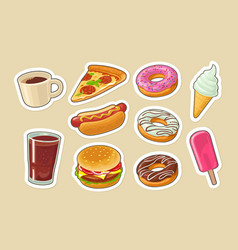 set fast food donut ice cream pizza hamburger vector image