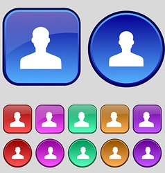 User person log in icon sign a set of twelve vector