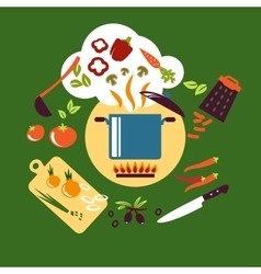 Cooking vegetarian food flat design vector