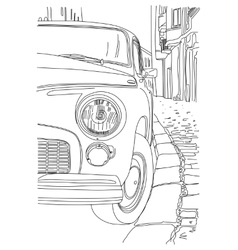 Sketch of the old cars vector