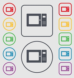 Microwave icon sign symbol on the round and square vector