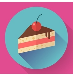 Piece of cake with cherry icon modern minimal vector