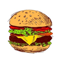 Colored hand sketch hamburger vector