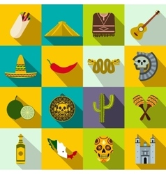Mexico icons flat vector