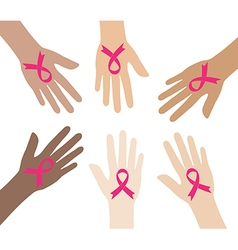 Pink breast cancer awareness ribbons vector