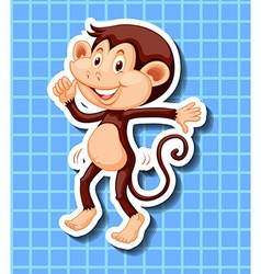 Little monkey dancing on blue background vector