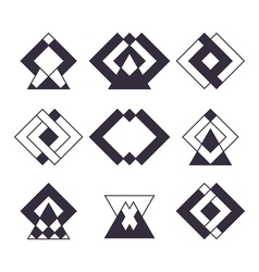 Set of 9 trendy geometric shapes Ethnic tattoo vector image