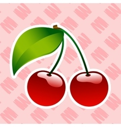 Red ripe cherry berrie food icon bio vector