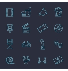 Outline movie icons set vector