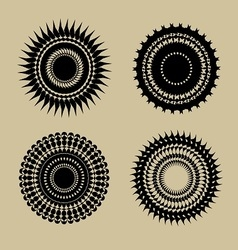 Set of beautiful black round geometr design elemen vector