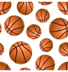 Many realistic basketball balls on white seamless vector