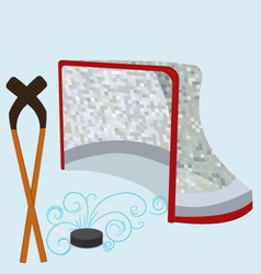 Ice hockey puck stick and net vector