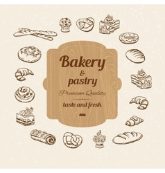 Bread and pastry sketch vector