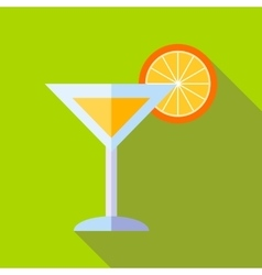 Cocktail with orange icon flat style vector