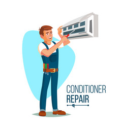 air conditioner repair worker young happy vector image