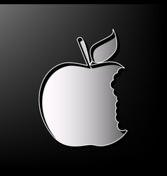 Bited apple sign gray 3d printed icon on vector