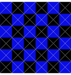Blue black chess board diamond background vector