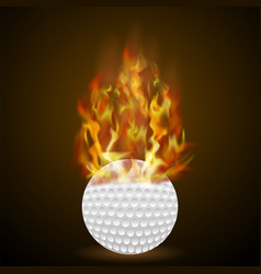 burning golf ball with fire flame vector image vector image