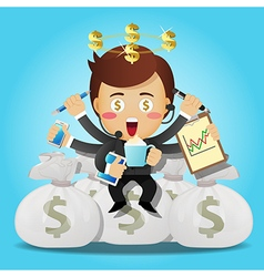 businessman with many arms sitting on money bags vector image vector image