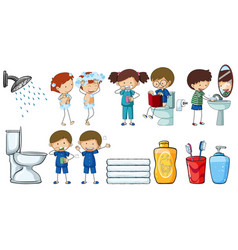 children doing different routine activities vector image vector image