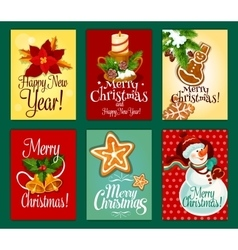 Christmas and new year card set for holiday design vector