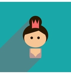 Flat icon with long shadow girl princess vector