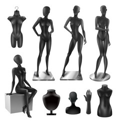 Mannequins women realistic black image set vector