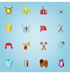 Medieval weapons icons set cartoon style vector
