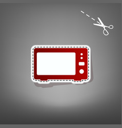 Microwave sign red icon with vector