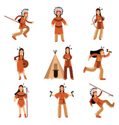 Native american indians characters in traditional vector