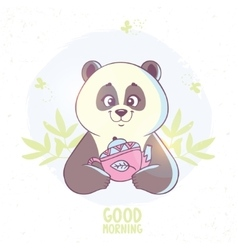 Panda and tea vector image vector image