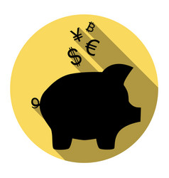 Piggy bank sign with the currencies flat vector