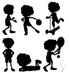 silhouette children doing different activities vector image