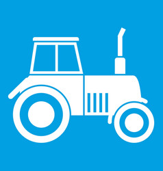 Tractor icon white vector