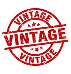 Vintage round red grunge stamp vector
