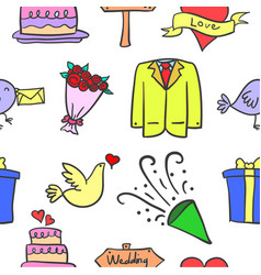 Wedding element doodles vector