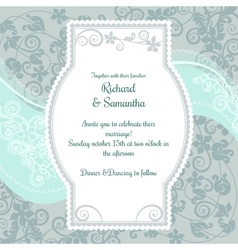 Wedding invitation on the pistacio colored floral vector