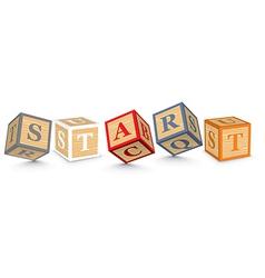 Word START written with alphabet blocks vector image