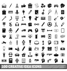100 creative idea icons set simple style vector