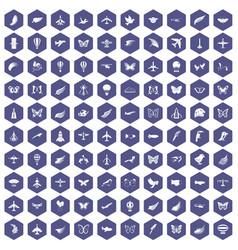 100 fly icons hexagon purple vector