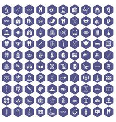 100 medical icons hexagon purple vector