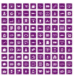 100 shopping icons set grunge purple vector image