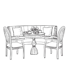 Furniture in the cafe dinner table vector
