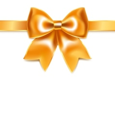 Golden bow of silk ribbon isolated on white vector
